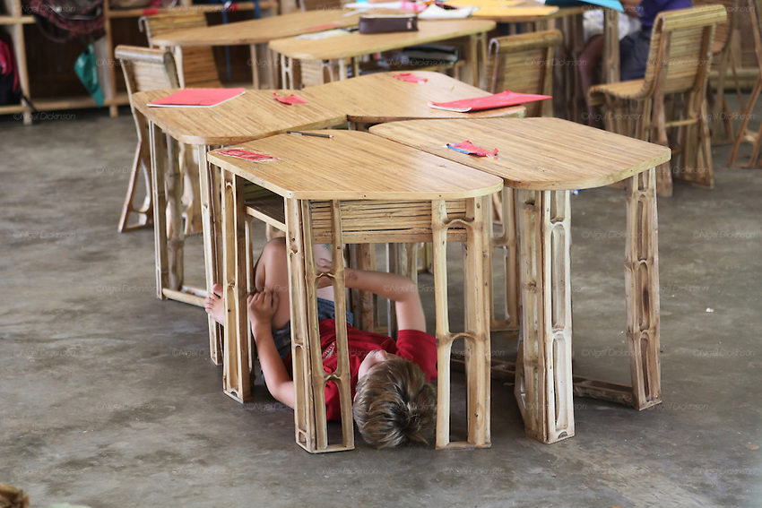 One of the rules of class is to have play and fun. A child plays in amongst the bamboo furniture<br /><br />The Green School (Bali) is one of a kind in Indonesia. It is a private, kindergarten to secondary International school located along the Ayung River near Ubud, Bali, Indonesia. The school buildings are of ecologically-sustainable design made primarily of bamboo, also using local grass and mud walls. There are over 600 students coming from over 40 countries with a percentage of scholarships for local Indonesian students.<br /><br />The impressive three-domed &quot;Heart of School Building&quot; is 60 metres long and uses 2500 bamboo poles. The school also utilizes renewable building materials for some of its other needs, and almost everything, even the desks, chairs, some of the clothes and football goal posts are made of bamboo.<br /><br />The educational focus is on ecological sustainability. Subjects taught include English, mathematics and science, including ecology, the environment and sustainability, as well as the creative arts, global perspectives and environmental management. This educational establishment is unlike other international schools in Indonesia. <br /><br />Renewable energy sources, including solar power and hydroelectric vortex, provide over 50% of the energy needs of the school. The school has an organic permaculture system and prepares students to become stewards of the environment. <br /><br />The school was founded by John and Cynthia Hardy in 2008.