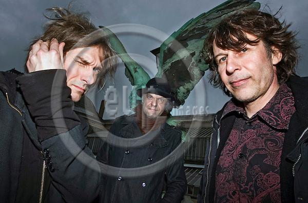 BRUSSELS  -  BELGIUM  - 12 FEBRUARY 2011 -- Finnish rock band 22 Pistepirkko on their 30 years anniversary tour in Europe. From left: Asko Keränen, P.-K. Keränen and Espe Haverinen at the Botanique. -- PHOTO: Juha ROININEN / EUP-Images