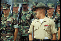 USMC BOOT CAMP, SAN DIEGO CA.  Marines, Marine Corps, parade deck.  NO MODEL RELEASES.  For editorial use only.