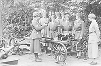 BNPS.co.uk (01202 558833)<br /> Pic: Pen&Sword/BNPS<br /> <br /> PICTURED: The 1924 F.A.N.Y. camp. Demonstration of a portable transceiver at a time when the Corps was making its first forays into communications, a skill that would prove invaluable during the Second World War.<br /> <br /> These inspiring photos of nurses on the front line feature in a new book which charts a century's heroic wartime service.<br /> <br /> The First Aid Nursing Yeomanry (FANY) was founded in 1907 by Captain Edward Baker with the early recruits trained in cavalry, signalling and camping.<br /> <br /> They were despatched to France at the outset for World War One to tend to injured troops on the battlefield, setting up hospitals for the many casualties. Other heroines dragged wounded personnel from exploding ammunition dumps.<br /> <br /> The brave nurses were again in the centre of the action in World War Two, performing sterling work in the harshest of conditions.<br /> <br /> Their stories feature in The First Aid Nursing Yeomanry in War and Peace, by Hugh Popham.
