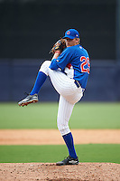 Pitcher Cameron Junker (29) of Archbishop Moeller High School in Cincinnati, Ohio playing for the Chicago Cubs scout team during the East Coast Pro Showcase on July 28, 2015 at George M. Steinbrenner Field in Tampa, Florida.  (Mike Janes/Four Seam Images)