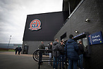 AFC Fylde 1, Aldershot Town 0, 14/03/2020. Mill Farm, National League. Away supporters queueing for tickets outside the stadium before AFC Fylde took on Aldershot Town in a National League game at Mill Farm, Wesham. The fixture was played against the backdrop of the total postponement of all Premier League and EFL football matches due to the the coronavirus outbreak. The home team won the match 1-0 with first-half goal by Danny Philliskirk watched by a crowd of 1668. Photo by Colin McPherson.