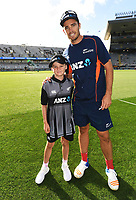 ANZ coin toss winner with Tim Southee.<br /> New Zealand Black Caps v Australia.Tri-Series International Twenty20 cricket final. Eden Park, Auckland, New Zealand. Wednesday 21 February 2018. &copy; Copyright Photo: Andrew Cornaga / www.Photosport.nz