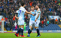 Blackburn Rovers' Adam Armstrong celebrates scoring the opening goal with Harrison Reed and Lewis Travis<br /> <br /> Photographer Alex Dodd/CameraSport<br /> <br /> The EFL Sky Bet Championship - Blackburn Rovers v Hull City - Saturday 26th January 2019 - Ewood Park - Blackburn<br /> <br /> World Copyright © 2019 CameraSport. All rights reserved. 43 Linden Ave. Countesthorpe. Leicester. England. LE8 5PG - Tel: +44 (0) 116 277 4147 - admin@camerasport.com - www.camerasport.com