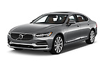 2018 Volvo S90 Inscription PHEV T8 AWD 4 Door Sedan angular front stock photos of front three quarter view