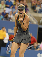 FLUSHING NY- SEPTEMBER 2: Maria Sharapova celebrates after winning her match Vs Nadia Petrova on Arthur Ashe stadium at the USTA Billie Jean King National Tennis Center on September 2, 2012 in in Flushing Queens. Credit: mpi04/MediaPunch Inc. ***NO NY NEWSPAPERS*** /NortePhoto.com<br />