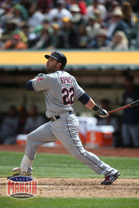 OAKLAND, CA - APRIL 2:  Jason Kipnis #22 of the Cleveland Indians bats against the Oakland Athletics during the game at O.co Coliseum on Wednesday, April 2, 2014 in Oakland, California. Photo by Brad Mangin