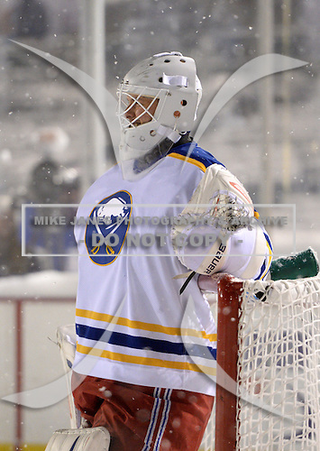 Martin Biron (43) during The Frozen Frontier Buffalo Sabres vs. Rochester Amerks Alumni Game at Frontier Field on December 15, 2013 in Rochester, New York.  (Copyright Mike Janes Photography)