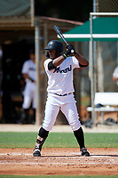 GCL Marlins Omar Lebron (30) at bat during a Gulf Coast League game against the GCL Astros on August 8, 2019 at the Roger Dean Chevrolet Stadium Complex in Jupiter, Florida.  GCL Astros defeated GCL Marlins 4-2.  (Mike Janes/Four Seam Images)