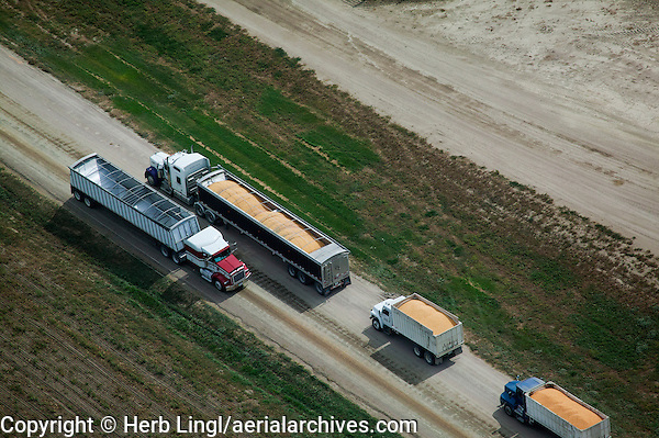 aerial photograph corn delivery to cattle feedlot Nebraska