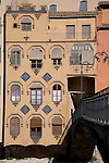 Agusti Bridge and Colorful Facade in Girona, Catalonia, Spain