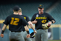 Missouri Tigers relief pitcher Trey Dillard (47) reacts after getting the final out in the game against the Texas Longhorns in game eight of the 2020 Shriners Hospitals for Children College Classic at Minute Maid Park on March 1, 2020 in Houston, Texas. The Tigers defeated the Longhorns 9-8. (Brian Westerholt/Four Seam Images)