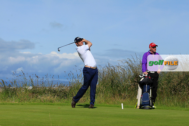 Aaron Kearney (Castlerock) on the 4th tee during Round 3 of Matchplay in the North of Ireland Amateur Open Championship at Portrush Golf Club, Portrush on Thursday 14th July 2016.<br /> Picture:  Thos Caffrey / www.golffile.ie