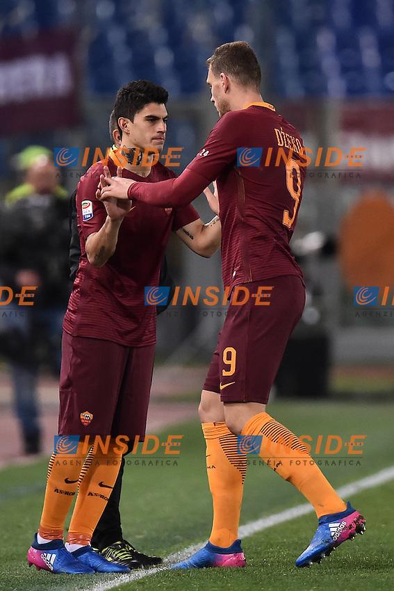 Diego Perotti, Edin Dzeko Roma <br /> Roma 18-02-2017 Stadio Olimpico Football Calcio Serie A 2016/2017 <br /> AS Roma - Torino Foto Andrea Staccioli / Insidefoto