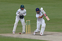 James Foster in batting action for Essex as Ben Cox looks on from behind the stumps during Worcestershire CCC vs Essex CCC, Specsavers County Championship Division 1 Cricket at New Road on 13th May 2018