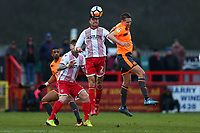 Jonathan Smith of Stevenage and David Edwards of Reading during Stevenage vs Reading, Emirates FA Cup Football at the Lamex Stadium on 6th January 2018