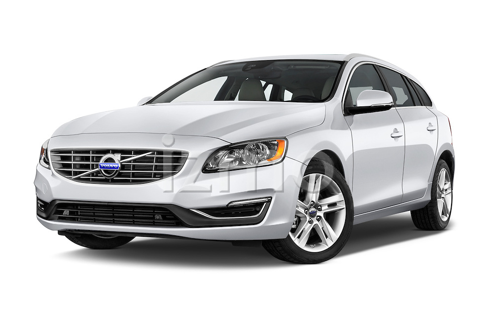 Stock pictures of low aggressive front three quarter view of 2017 Volvo V60 T5 5 Door Wagon Low Aggressive