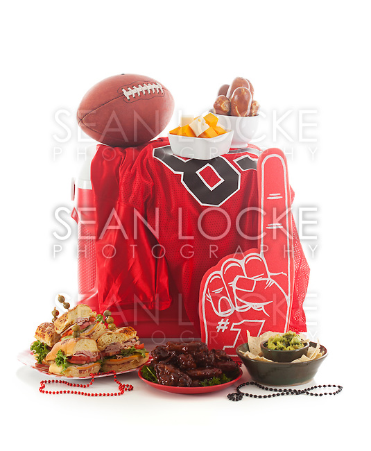 Series with football tailgate party food and items.