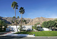 Classic Palm Springs home is seen against mountain