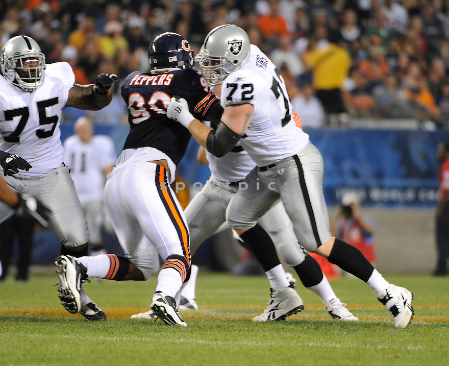 ERIK PEARS, of the Oakland Raiders, in action during the Raiders game against the Chicago Bears at Soldier Field in Chicago, IL.  on August 21, 2010.  The Raiders beat the Bears 32-17 in the second week of preseason games...