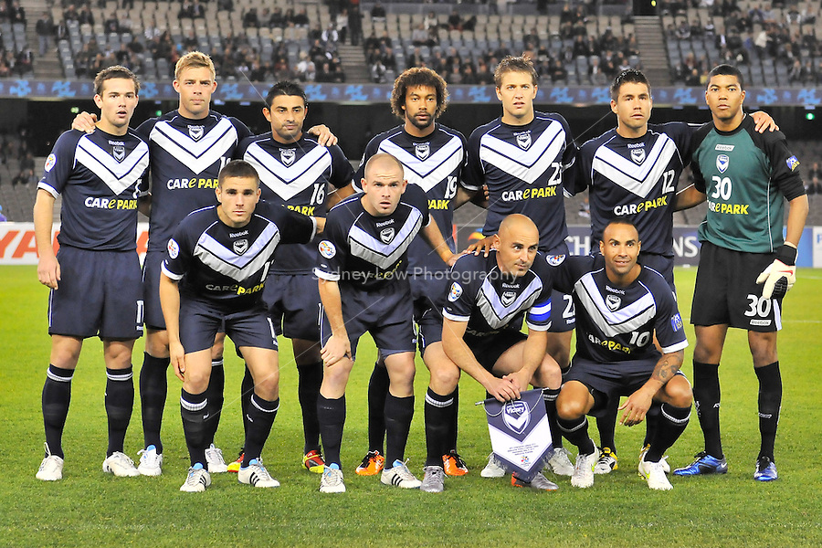 MELBOURNE, AUSTRALIA - MAY 4, 2011: The Melbourne Victory team for the AFC Champions League Group E match between Melbourne Victory and Gamba Osaka at Etihad Stadium on May 4, 2011 in Melbourne, Australia. Photo Sydney Low / Asteriskimages.com