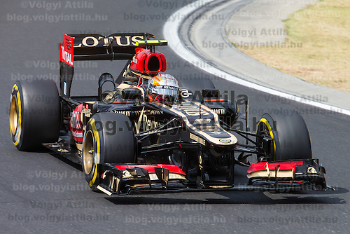 Lotus F1 Formula One driver Romain Grosjean of France drives his car during the qualifier of the Hungarian F1 Grand Prix in Mogyorod (about 20km north-east from capital city Budapest), Hungary on July 27, 2013. ATTILA VOLGYI