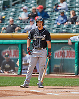 Rafael Ortega (13) of the El Paso Chihuahuas at bat against the Salt Lake Bees in Pacific Coast League action at Smith's Ballpark on April 30, 2017 in Salt Lake City, Utah.   El Paso defeated Salt Lake 3-0. This was Game 1 of a double-header.(Stephen Smith/Four Seam Images)