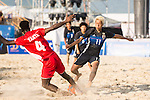 GOTO Takasuke of Japan competes for the ball with AL ARAIMI Yahya Mabyoua Nashir of Oman during the Beach Soccer Men's Team Gold Medal Match between Japan and Oman on Day Nine of the 5th Asian Beach Games 2016 at Bien Dong Park on 02 October 2016, in Danang, Vietnam. Photo by Marcio Machado / Power Sport Images