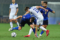 Andrea Belotti of Italy and Gojko Cimirot of Bosnia during the Uefa Nation League Group Stage A1 football match between Italy and Bosnia at Artemio Franchi Stadium in Firenze (Italy), September, 4, 2020. Photo Massimo Insabato / Insidefoto