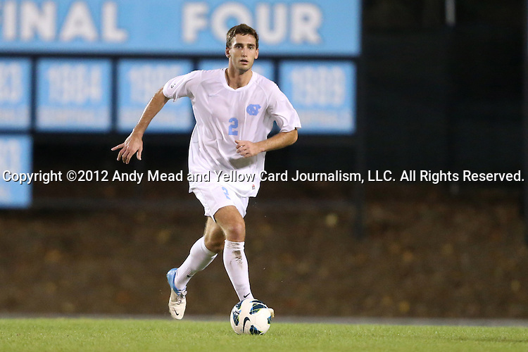 02 October 2012: UNC's Jonathan Campbell. The University of North Carolina Tar Heels defeated the Georgia Southern Eagles 2-0 at Fetzer Field in Chapel Hill, North Carolina in a 2012 NCAA Division I Men's Soccer game.