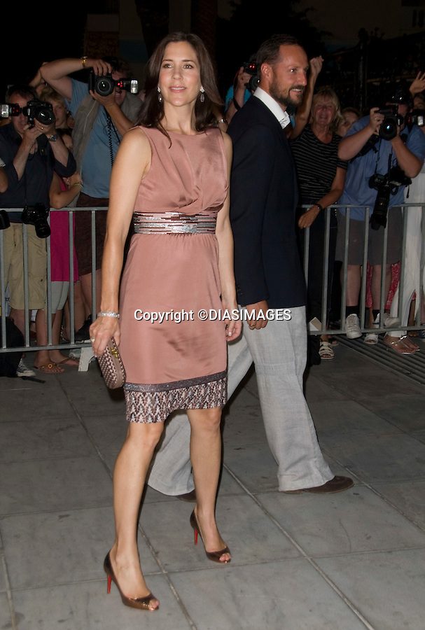 """CROWN PRINCESS MARY OF DENMARK _.at the cocktail party hosted by his parents King Constantine and  Queen Anne Marie at the Poseidonion Grace Hotel, Spetses_24/08/2010.Mandatory Credit Photo: ©DIASIMAGES..**ALL FEES PAYABLE TO: """"NEWSPIX INTERNATIONAL""""**..IMMEDIATE CONFIRMATION OF USAGE REQUIRED:.Newspix International, 31 Chinnery Hill, Bishop's Stortford, ENGLAND CM23 3PS.Tel:+441279 324672; Fax: +441279656877.e-mail: info@newspixinternational.co.uk"""