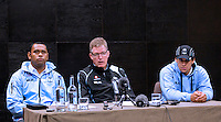 Wednesday 12 November 2014<br /> Pictured: Akapusi Qera, John McKee, Josh Matavesi<br /> Re: Vodafone Flying Fijians captain Akapusi Qera, (Left) coach John McKee, (Centre) and Josh Matavesi (Right) during a press conference at the Park Plaza Hotel, Cardiff ahead of the match against Wales on Saturday 15th November