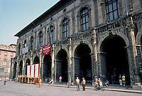 Italy: Bologna--Piazza Maggiore. Palazza Del Podesta--Renaissance building, 15th C. (?)  Photo '83.