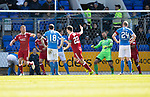 St Johnstone v Aberdeen&hellip;15.04.17     SPFL    McDiarmid Park<br />Adam Rooney and Ryan Jack celebrates as Tam Scobbie scores an own goal<br />Picture by Graeme Hart.<br />Copyright Perthshire Picture Agency<br />Tel: 01738 623350  Mobile: 07990 594431