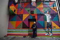 NOVA YORK, EUA - 30.11.2018 - ARTE-NOVA YORK - Mural Sonho Americano do artista brasileiro Eduardo Kobra é visto na Ilha de Manhattan em Nova York (Foto Vanessa Carvalho / Brazil Photo Press)