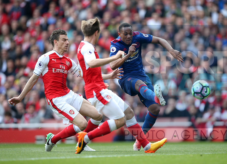Manchester United's Anthony Martial fires in a shot during the Premier League match at the Emirates Stadium, London. Picture date: May 7th, 2017. Pic credit should read: David Klein/Sportimage