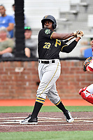 Bristol Pirates center fielder Yondry Contreras (23) swings at a pitch during a game against the Johnson City Cardinals at TVA Credit Union Ballpark on June 23, 2017 in Johnson City, Tennessee. The Pirates defeated the Cardinals 4-3. (Tony Farlow/Four Seam Images)