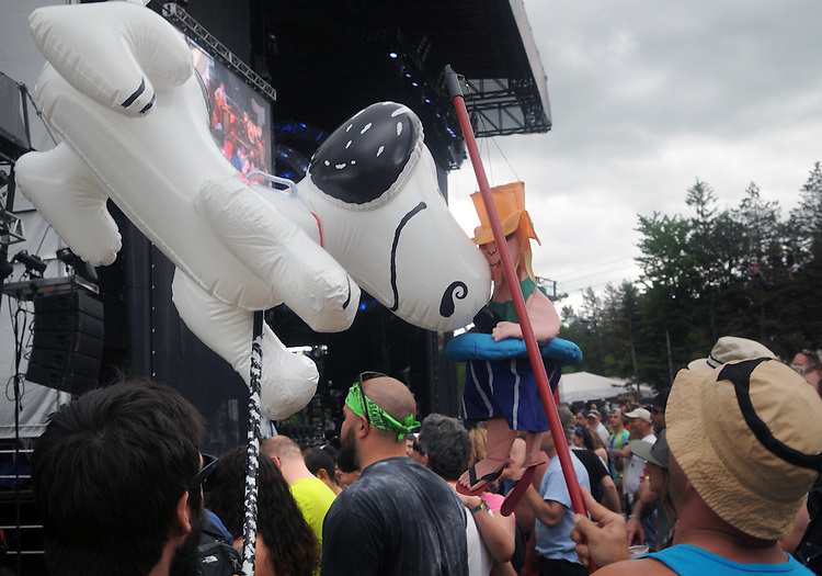 "a distinctive inflated ""Snoopy"" figure and a Puppet Figure, both operated by audience members during a performance of, The Mother Hips, Mountain Jam Music Festival of 2015, in Hunter, NY on Friday June 5, 2015. Photo by Jim Peppler. Copyright Jim Peppler 2015."