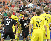 Julius James #2 of D.C. United gets above Danny O'Rourke #5 to make a clearance during an MLS match against the Columbus Crew at RFK Stadium on September 4 2010, in Washington DC. Columbus won 1-0.