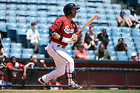 Nashville Sounds third baseman Taylor Green (3) at bat during a game against the Omaha Storm Chasers on May 20, 2014 at Herschel Greer Stadium in Nashville, Tennessee.  Omaha defeated Nashville 4-1.  (Mike Janes/Four Seam Images)