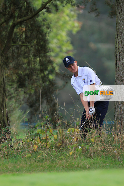Marcus Kinhukt (SWE) on the 9th hole of the Mixed Fourballs during the 2014 JUNIOR RYDER CUP at the Blairgowrie Golf Club, Perthshire, Scotland. <br /> Picture:  Thos Caffrey / www.golffile.ie