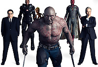 Avengers: Infinity War (2018) <br /> Paul Bettany, Don Cheadle, Dave Bautista &amp; Jon Favreau<br /> *Filmstill - Editorial Use Only*<br /> CAP/KFS<br /> Image supplied by Capital Pictures