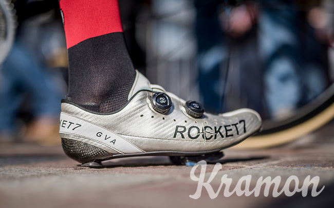 Greg Van Avermaet's (BEL/BMC) cracked shoe<br /> <br /> 79th Gent-Wevelgem 2017 (1.UWT)<br /> 1day race: Deinze &rsaquo; Wevelgem - BEL (249km)