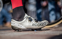 Greg Van Avermaet's (BEL/BMC) cracked shoe<br /> <br /> 79th Gent-Wevelgem 2017 (1.UWT)<br /> 1day race: Deinze › Wevelgem - BEL (249km)