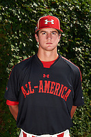 Pitcher Foster Griffin (50) of First Academy High School in Orlando, Florida poses for a photo before the Under Armour All-American Game on August 24, 2013 at Wrigley Field in Chicago, Illinois.  (Mike Janes/Four Seam Images)