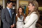 Designer Monique Lhuillier,center, and her husband Tom Bugbee chat with Yasmine Haddad at Tootsies Thursday Oct. 30, 2008. (Dave Rossman/For the Chronicle)