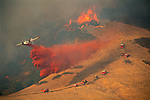 Aerial Tanker drops fire retardant on 400 acre wildfire near Mt. Diablo, Contra Costa County, CALIFORNIA