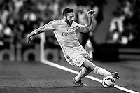 Carvajal of Real Madrid during La Liga match between Real Madrid and Athletic de Bilbao at Santiago Bernabeu stadium in Madrid, Spain. October 05, 2014. (ALTERPHOTOS/Caro Marin)(EDITORS NOTE: This image has been converted to black and white)