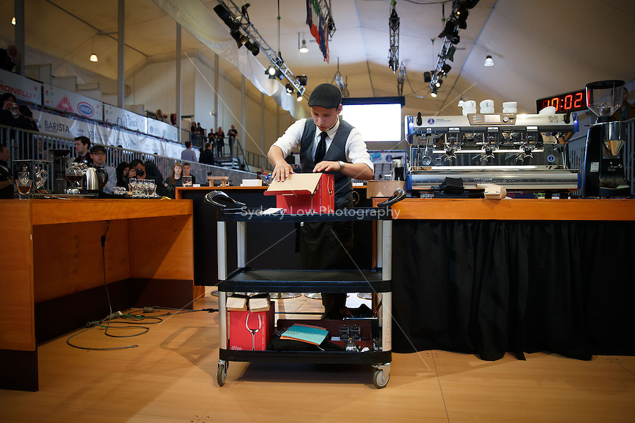 MELBOURNE, 26 MAY - William Hernandez from El Salvador competes in the final of the World Barista Championship 2013 before being announced as coming in 3rd place at the Melbourne Show Grounds in Melbourne, Australia. Photo Sydney Low / syd-low.com
