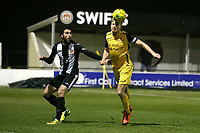 Alex Bentley of Hornchurch and Juan Luque of Heybridge during Heybridge Swifts vs AFC Hornchurch, Bostik League Division 1 North Football at Scraley Road on 9th January 2018